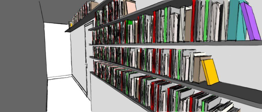décorer aménager couloir bibliothèque murale